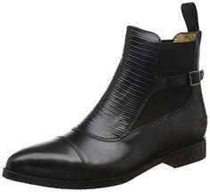 Melvin & Hamilton Damen Jessy 10 Chelsea Boots, Schwarz (Crust Black/Guana Black/Ela.Black/Hrs), 38 EU