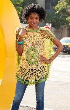 Trippy Tunic Crochet Pattern - The Crochet Crowd Crochet Bolero, Crochet Tunic, Crochet Yarn, Crochet Clothes, Free Crochet, Crochet Tops, Tunic Pattern, Free Pattern, Easy Crochet Patterns