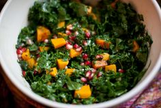 kale, pomegranate & butternut squashsalad - a house in the hills