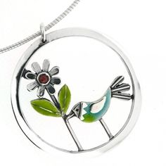 Forget Me Not Pendant Large pendant measuring across hangs from a heavyweight 18 inch omega wire. The flower is set with a garnet. Temple Jewellery, Gemstone Necklace, Indian Jewelry, Precious Metals, Wedding Jewelry, Omega, Jewelry Design, Pendants, Jewels