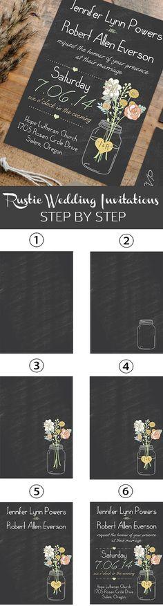 mason jars inspired rustic chalkboard wedding invitations for country wedding ideas