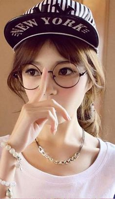 Cute girl Japanese ulzzang round glasses