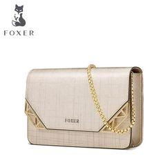 FOXER Brand Women Cowhide Leather Shoulder bag Women s Chain Strap  Crossbody Bag Fashion Ladies Bag Female Messenger bag baa6888afdadc