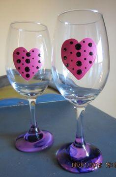 valentine painted wine glasses
