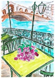 Waterside Terrace painting. Travel art Italy. Wall decor Venice. Landscape art. Bridge painting. Flowers on table. Romantic art.Gift For her