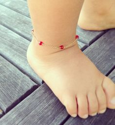 Baby ankle Baby girl baby jewelry Birthstone by Aupetitpied, $35.00