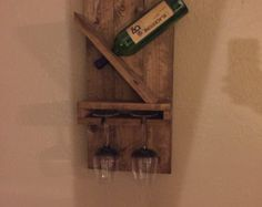 Zig Zag vino Rack Z o madera rústica W pantalla por DistressedMeNot