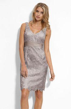 v-neck lace sheath dress
