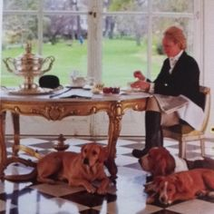 Lady Fretwell and her dogs by James Mortimer Vogue Strawberries Garden, Vogue, Lady, En Vogue