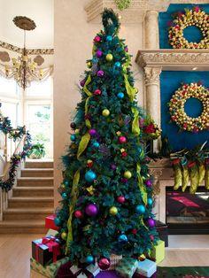 colorful christmas trees - Jewel Colored Christmas Decorations