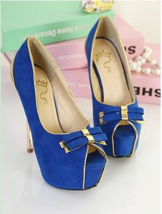 Double Bows and Metal Heel Design Peep Toed Shoes