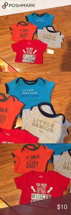 "Boys onesie bundle 4 onesies --""muscle show"" 3-6 months; ""little genius"" - Carter's 3 months; ""just like daddy"" - Carter's 3 months; ""dad's lucky"" - Carter's 6 months Shirts & Tops Tees - Short Sleeve"