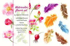 Watercolor floral set by katya.bogina on @creativemarket