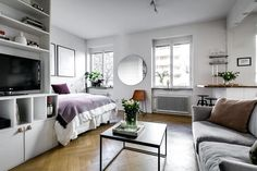 Cozy one-room apartment in perfect style via Krone Kern Small Apartment Bedrooms, One Room Apartment, Studio Apartment Layout, Small Studio Apartments, Studio Apartment Decorating, Apartment Interior, Apartment Ideas, Apartment Cleaning, Modern Apartments