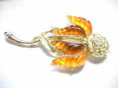 Topaz Color, Gold Birthday, Seed Pods, Aurora Borealis, Flower Brooch, Vintage Brooches, Rhinestones, Amber, Vintage Items