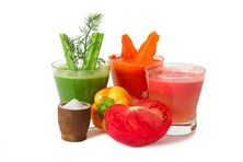 carrot, celery and tomato juice with vegetables and salt
