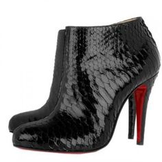 Christian Louboutin Belle Python Ankle Boots Black 100mm