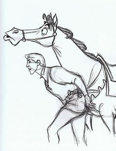 Sleeping Beauty - Prince Phillip and Samson sketch