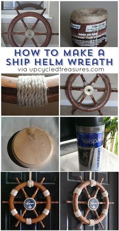 Can t figure out what to do with that old ship helm Check out How to Upcycle a Ship Helm into a Nautical Wreath Nautical Wreath, Nautical Party, Nautical Home, Nautical Prints, Nautical Design, Nautical Style, Beach Crafts, Diy Crafts, Coastal Decor