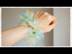 リボンを切って結ぶ簡単シュシュの作り方♪ diy scrunchie tutorial - YouTube