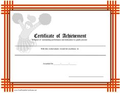 Cheerleading Certificate Of Achievement  Cheer