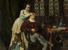 Adolphe-Alexandre Lesrel (1839-1929), Überraschung, Öl, 1891