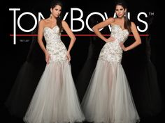 Strapless illusion gown beaded to upper thigh with jeweled waist band and full sheer skirt with curled hem. Removable straps included.Sizes: 0-20