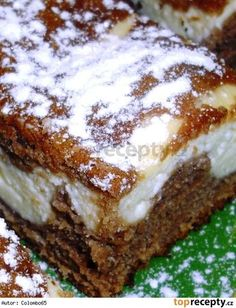 Granko-tvarohové řezy Kakaové těsto: 2 hrnky hladké mouky 1 kypřící prášek do pečiva 1 hrnek cukru krystal 3/4 hrnku oleje 1 hrnek mléka 2 vejce 3 lžíce Granka citronová kůra z jednoho citronu Světlé těsto: 2 měkké tvarohy 1 vanilkový cukr 1 vanilkový puding 1 hrnek moučkového cukru 2 vejce 1 hrnek mléka Sweet Desserts, Sweet Recipes, Cake Recipes, Dessert Recipes, Good Food, Yummy Food, Czech Recipes, Croatian Recipes, Sweet Cakes