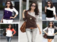 Womens Casual Long Sleeve Top Ladies T Shirt Holiday Top -3619
