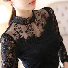 Hollow Out Lace Blouse 2018 Elegant Shirt Ladies Tops Crochet Lo – rricdress Black Lace Blouse, Black Lace Tops, Blouse Models, Saree Blouse Designs, Lady, Blouses For Women, Ladies Tops, Cute Outfits, Fashion Outfits