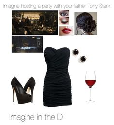 """""""Imagine hosting a party with your father Tony Stark"""" by handfulhannah ❤ liked on Polyvore featuring Giuseppe Zanotti, LSA International, Kate Spade, women's clothing, women, female, woman, misses and juniors"""