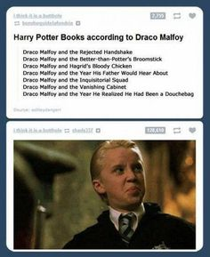"""J.K. Rowling's Version Of """"Harry Potter"""" According To Draco Malfoy Is Absolutely Hilarious. Awesome"""