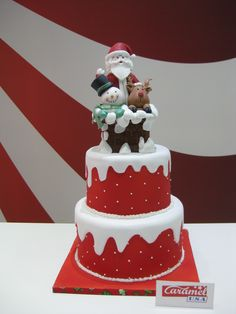 Merry Christmas From Caramelusa, Barcelona dummy cake, fondant and sugarpaste. Fondant Christmas Cake, Christmas Themed Cake, Christmas Cake Designs, Christmas Cake Topper, Christmas Cake Decorations, Christmas Sweets, Holiday Cakes, Christmas Baking, Christmas Cakes