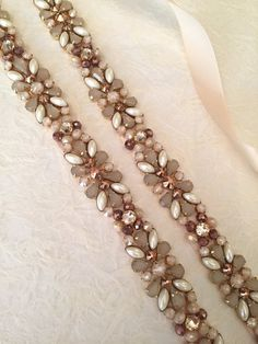 Champagne, Rose Gold, Antique Taupe, Cream, Pearl and Ivory Crystal  Embellished Satin Ribbon Brides d4e71d804a4