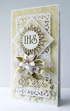 kartkulec: I Komunia Święta First Communion Cards, First Holy Communion, Hobbies And Crafts, Diy And Crafts, Confirmation Cards, Words For Sympathy Card, Money Envelopes, Dress Card, Quilling Craft