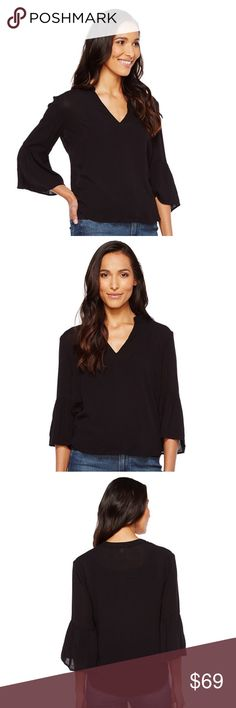 """Splendid black ruffle sleeve top -NWT- size small Splendid black ruffle sleeve top Size small Romantic, bohemian style Lightweight and finely textured woven blouse boasts an easily-styled solid.  Bell cuff on 3/4 sleeves Sits high on hip 100% rayon Length: 24"""" (online website). Splendid Tops"""