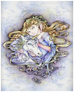 "5x7 Fantasy Princess Girl and Unicorn Art Print ""Protect Me"". via Etsy."