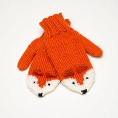 hand-knit fox mittens