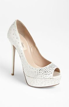 Valentino white and crystal wedding shoes