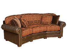 King Hickory curved couch Curved Couch, Conversation Sofa, Back Pillow, Nailhead Trim, Leather Fabric, My Dream Home, Seat Cushions, Sofas, Decor Ideas