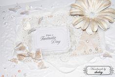Handmade card * Scrapbook paper, big flowers, a ribbon, Capsule, Docrafts * Paper heart rosette, white brad, www.paperoamo.cz * Pearls, Papermania, Docrafts