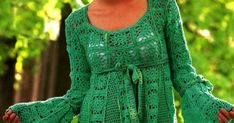 Crochet Dresses, Crochet Squares, Leg Warmers, Crochet Projects, Mary, Patterns, Knitting, Fashion, Green Dress