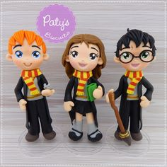 Kit 3 Miniaturas Harry Potter: Harry, Rony e Hermione | Paty s Biscuit | Elo7