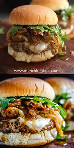 Caramelized Onions Burger Recipe – Juicy and delicious burger that will satisfy your hamburger cravings this grilling season! Grilled Burger Recipes, Turkey Burger Recipes, Gourmet Burgers, Juicy Burger Recipe, Best Hamburger Recipes, Burger Patty Recipe, Grilling Burgers, Lamb Burgers, Recipe For Burgers