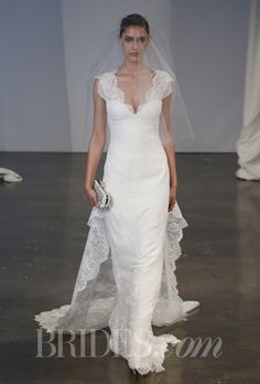 Marchesa - Spring 2014. Style B90812 corded lace column gown with plunging neckline and detachable train