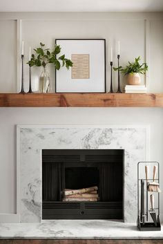 farmhouse living room decor with marble fireplace and rustic mantle, mantle decor ideas, fireplace design ideas, styling for fireplace mantle Farmhouse Fireplace Mantels, Home Fireplace, Fireplace Remodel, Living Room With Fireplace, Fireplace Design, Home Living Room, Fireplace Ideas, Wood Mantle Fireplace, Mantle Ideas