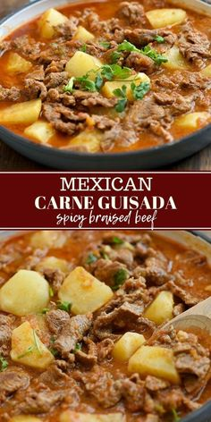 Carne Guisada with tender beef slices and potatoes braised in tomatoes for an easy weeknight dinner. It's hearty, tasty and fantastic with rice! #comfortfood #easydinners #weeknightdinners #mexicanfood #beef #recipes #stew