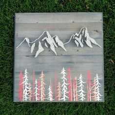 Mountain Range String Art Home Décor. Mountain | Art | String Art | Mountain String Art | Home Decor | Evergreens | Gift | Etsy