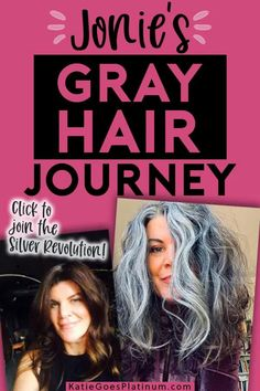 After 30  years of dyeing, Jonie, the founder of the gray hair Facebook group Silver Revolution, decided to ditch the dye and let her long brunette hair go gorgeously gray!  Check out her tips for the gray hair transition at 50.  Her long silver hair is simply gorgeous, and shows that those old rules about cutting your hair short over 40 are way outdated! Short Silver Hair, Long Gray Hair, Gray Hair Growing Out, Grow Hair, Burnette Hair, Hair Gummies, Grey Hair Journey, Grey Hair Over 50, Long Brunette Hair