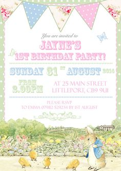 10 Personalised Party Invitations Peter Rabbit Boy Girl Unisex Vintage Bunting